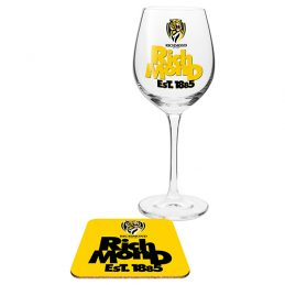 Richmond Tigers AFL WINE Glass and Coaster Gift Set