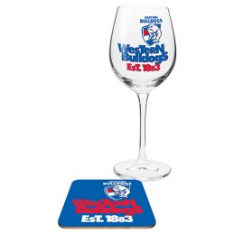 Western Bulldogs AFL WINE Glass and Coaster Gift Set