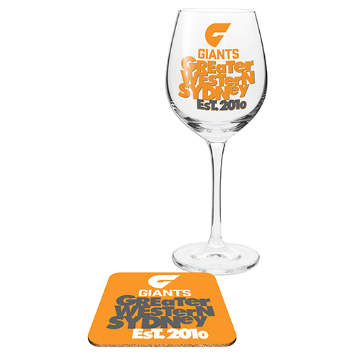 Greater Western Giants AFL WINE Glass and Coaster Gift Set
