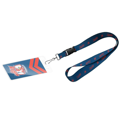 Sydney Roosters NRL Lanyard Chain Card Pocket Storage Poly Swivel Hook
