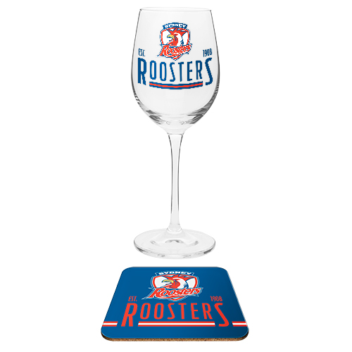 Sydney Roosters NRL Wine Champagne Drink Glass & Cork Coaster