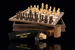 Quality DAL ROSSI Wooden Chess Checkers Backgammon Walnut Board Game
