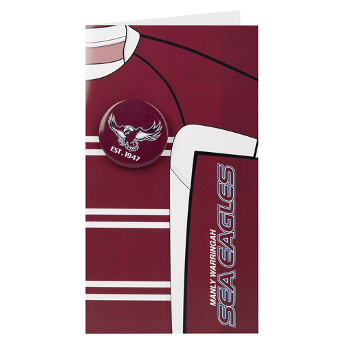 Manly Warringah Sea Eagles NRL GIFT Card with Badge (Birthday, Christmas, Mothers day, Fathers Day)
