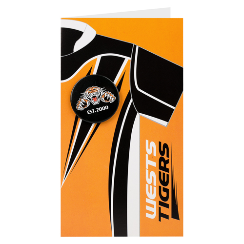 Wests Tigers NRL GIFT Card with Badge (Birthday, Christmas, Mothers day, Fathers Day)