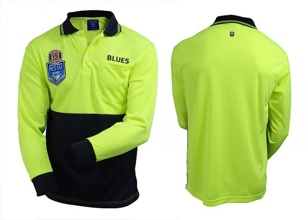 State of Origin NSW New South Wales Blues NRL LONG Sleeve HI VIS Polo Work