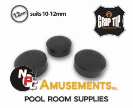 BLACK Spinster Grip Tip 12mm Glue on type, NEW No chalk Needed. Price is for each tip.