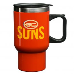 Gold Coast Suns AFL TRAVEL Coffee Mug Cup Stainless Steel with Handle