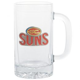 Gold Coast Suns AFL Glass Stein With Metal Badge 500ml