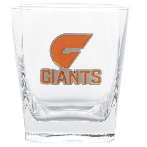 Set of 2 Greater Western Giants AFL Square Spirit Glasses with Metal Badge