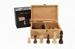 Dal Rossi Italy Wooden Chess 95mm Pieces & Timber Wood Storage Box