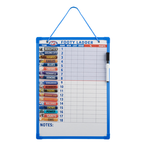 AFL Aussie Rules Score Board Ladder 18 Magnetic Team Tiles White Board with Pen