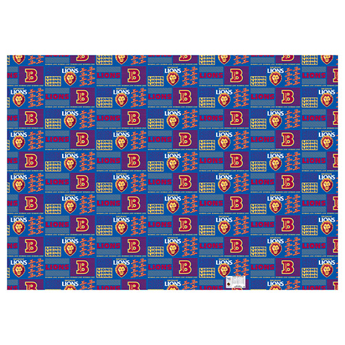 Brisbane Lions AFL Gift Wrapping Paper School Book Covering