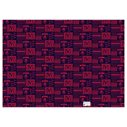Melbourne Demons AFL Gift Wrapping Paper School Book Covering