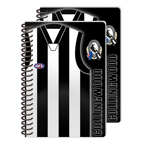 Collingwood Magpies AFL 2 Pack Spiral Bound A5 Notebooks