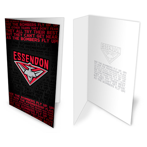 Essendon Bombers AFL Team Song Musical Greeting Card Birthday Gift