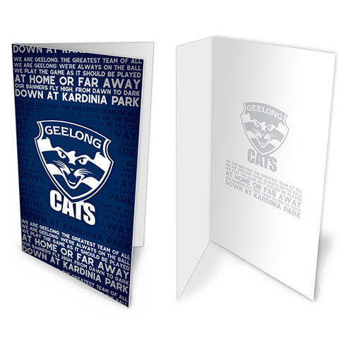 Geelong Cats AFL Team Song Musical Greeting Card Birthday Gift