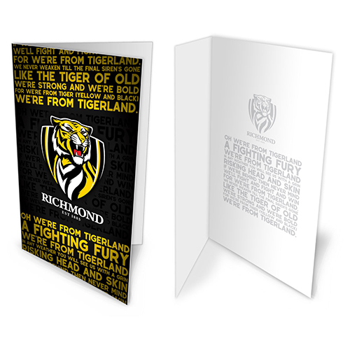 Richmond Tigers AFL Team Song Musical Greeting Card Birthday Gift