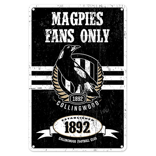 Collingwood Magpies Fans Only AFL Retro Metal Tin Wall Sign