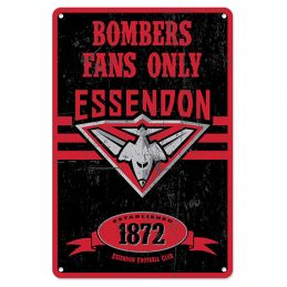 Essendon Bombers Fans Only AFL Retro Metal Tin Wall Sign