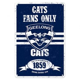 Geelong Cats Fans Only AFL Retro Metal Tin Wall Sign