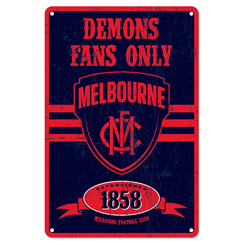 Melbourne Demons Fans Only AFL Retro Metal Tin Wall Sign