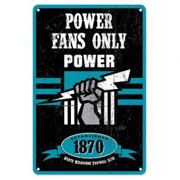 Adelaide Port Power Fans Only AFL Retro Metal Tin Wall Sign