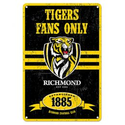 Richmond Tigers Fans Only AFL Retro Metal Tin Wall Sign