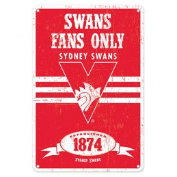 Sydney Swans Fans Only AFL Retro Metal Tin Wall Sign