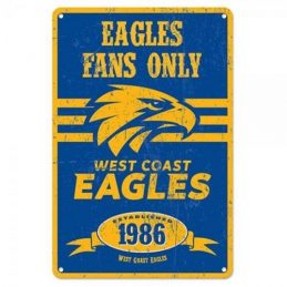 West Coast Eagles Fans Only AFL Retro Metal Tin Wall Sign