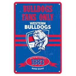 Western Bulldogs Fans Only AFL Retro Metal Tin Wall Sign