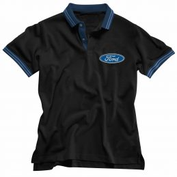 Ford Embroidered Men's Polo Shirt Blue Stripe
