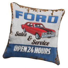 FORD Heritage Canvas Fabric Cushion Pillow Fully Stitched 43 x 43 cm