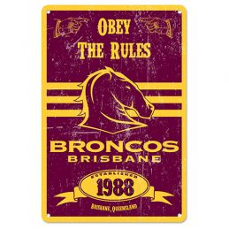 Brisbane Broncos NRL Retro Tin Wall Sign Obey The Rules