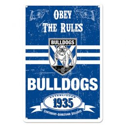 Canterbury Bulldogs NRL Retro Tin Wall Sign Obey The Rules