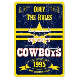 North Queensland Cowboys NRL Retro Tin Wall Sign Obey The Rules