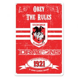 St George Illawarra Dragons NRL Retro Tin Wall Sign Obey The Rules