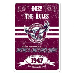 Manly Warringah Sea Eagles NRL Retro Tin Wall Sign Obey The Rules
