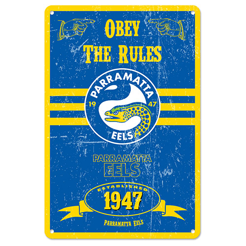 Parramatta Eels NRL Retro Tin Wall Sign Obey The Rules