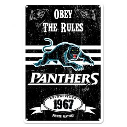 Penrith Panthers NRL Retro Tin Wall Sign Obey The Rules