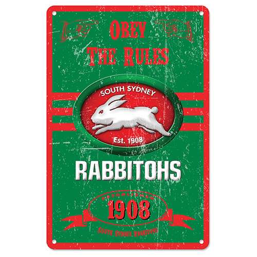 South Sydney Rabbitohs NRL Retro Tin Wall Sign Obey The Rules