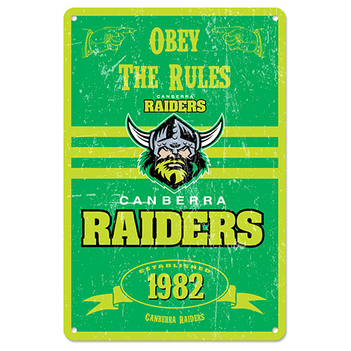 Canberra Raiders NRL Retro Tin Wall Sign Obey The Rules