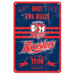 Sydney Roosters NRL Retro Tin Wall Sign Obey The Rules