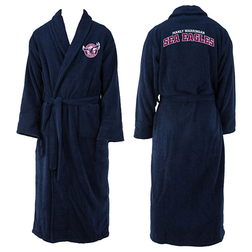 Manly Warringah Sea Eagles NRL Adult Polyester Dressing Gown Bath Robe