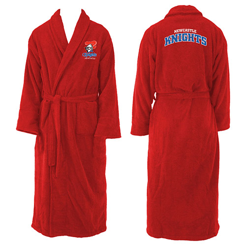 Newcastle Knights NRL Adult Polyester Dressing Gown Bath Robe