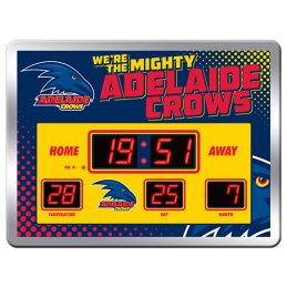 Adelaide Crows AFL Aussie Rules Glass SCOREBOARD LED Clock
