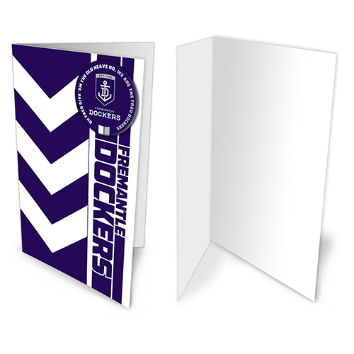 Fremantle Dockers Freo AFL Gift Card & Team BADGE Birthday Christmas Fathers Mothers Day