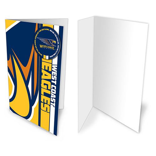 West Coast Eagles AFL Gift Card & Team BADGE Birthday Christmas Fathers Mothers Day