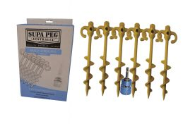 Supa Peg 6x SAND Screw Tent Pegs Heavy Duty 300mm Camping Kit Socket and Adapter