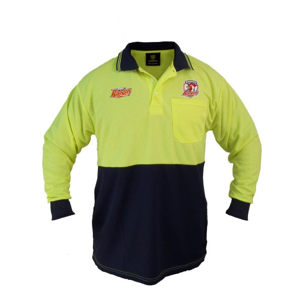 Sydney Roosters NRL LONG Sleeve HI VIS Polo Work Shirt: Yellow/Navy