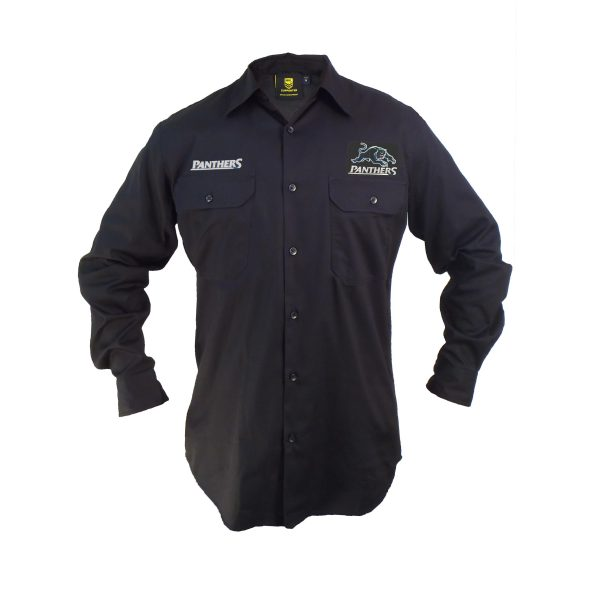 Penrith Panthers NRL LONG Sleeve Button Work Shirt: BLACK